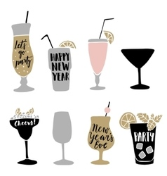 Set of hand drawn alcoholic cocktails with vector