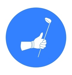 Holding of a golf club icon in black style vector