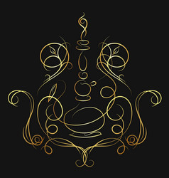 Hookah silhouette of golden color vector