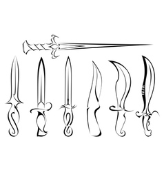 Set of silhouettes of knife tattoo vector image