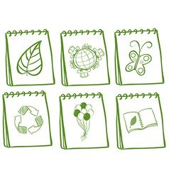green iconic set vector image