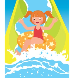 Children girl playing in water park in summer vector