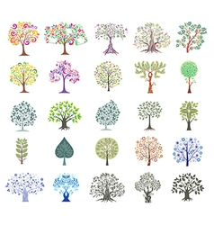Set of abstract colorful trees vector