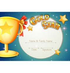 Certificate template with trophy and stars vector