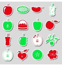 apple theme red and green simple stickers set vector image