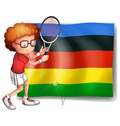 Olympics flag and tennis player vector