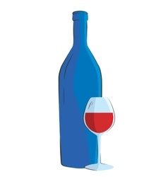 Wine bottle and glass on white background vector