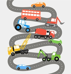 Abstract city road with different transport vector image vector image