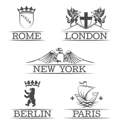 Arms Paris and Rome emblems New York London vector image vector image