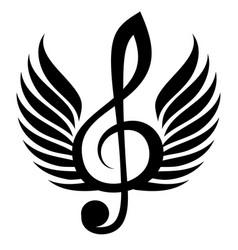 black treble clef with wing vector image vector image