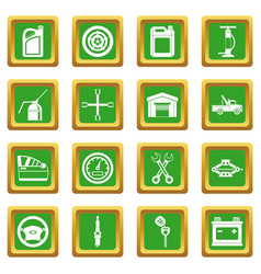 Car maintenance and repair icons set green vector