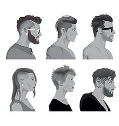 Cartoon hair styles vector image vector image