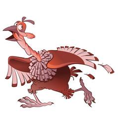 Cartoon turkey bird runs away in fear symbol of vector