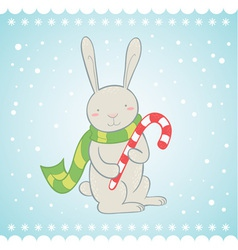 Cute bunny Christmas greeting card vector image vector image