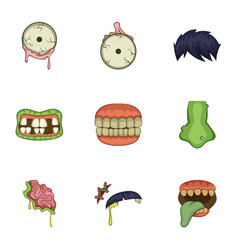 Dead body part icons set cartoon style vector