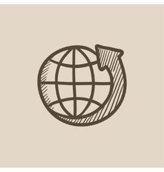 Earth and arrow around sketch icon vector