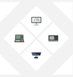 Flat icon computer set of display technology pc vector