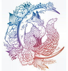 Fox on night floral crescent moon in vinatge style vector