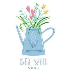 Get well soon floral card vector