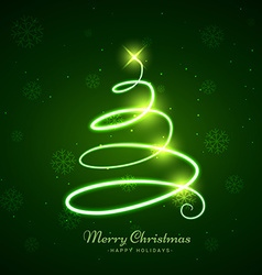 glowing christmas tree in green background vector image
