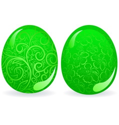 green easter eggs vector image