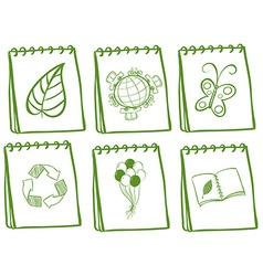 Green iconic set vector