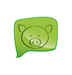 Green square chat bubble with pig animal inside vector