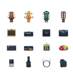 Guitar equipment icon set vector