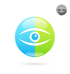 Human eye icon on medical round plate vector