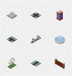Isometric city set of barrier phone box vector