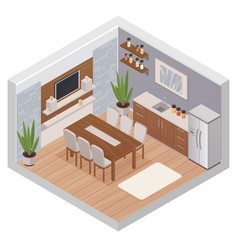 Isometric kitchen interior with tv vector
