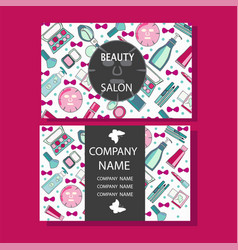 makeup care cute design of business cards for vector image