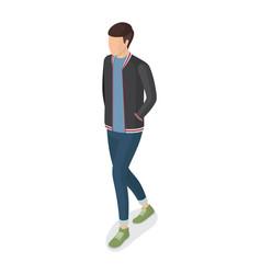 Man in black jacket blue jeans sneakers side view vector