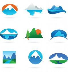 nature logos 01 mountain theme vector image vector image