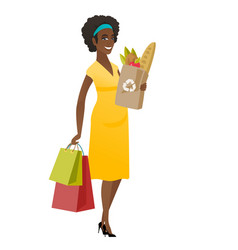 Pregnant woman holding paper bag full of food vector