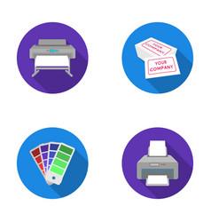Printer credit card color palettetypography set vector