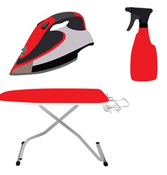 Red ironing board iron and spray vector