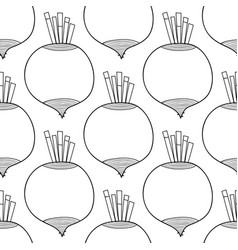 Seamless black and white pattern with beet vector