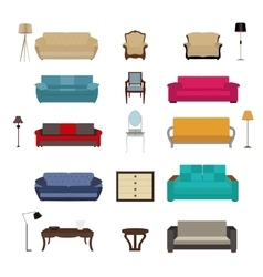 Set of Furniture Modern Flat style vector image vector image