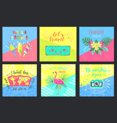 set of summer hand-lettering labels tropical vector image vector image