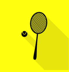 Tennis racquet sign black icon with flat style vector