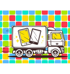 Truck free and fast delivering phone to c vector