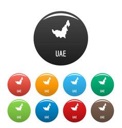 Uae map in black set simple vector