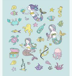 Under the sea - little mermaid vector