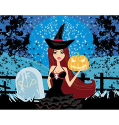 witch with Halloween pumpkin vector image vector image