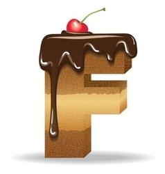 Cake letter F- birthday font vector image