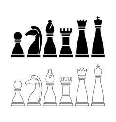 Chess pieces black and white figures vector