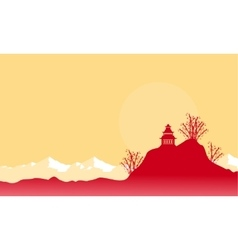 Pavilion on hill scenery with mountain backgrounds vector