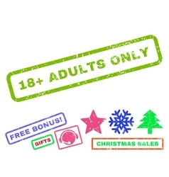 18 plus adults only rubber stamp vector