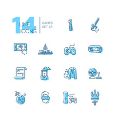 Video gaming - line icons set vector
